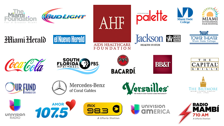 2017 Gay8 Sponsors - AIDS Healthcare Foundation, The Miami Foundation, Bud Light, Palette Magazine, Miami Dade College, Miami International Film Festival, Cigna, Miami Herald, El Nuevo Herald, Jackson Health Systems, The Capital Grille, Coca-Cola, Wepa.fm, Bacardi, BB&T, Our Fund Foundation, WPBT Channel 2, Mercedes-Benz of Coral Gables, Versailles Restaurant, The Biltmore Hotel, Univision Radio, Amor 107.5, Mix 98.3, Univision America, Radio Mambi