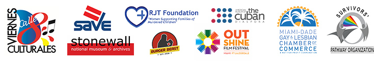 2018 Gay8 Community Partners logos - Viernes Culturales, SAVE, Stonewall National Museum & Archives, RJT Foundation, Burger Beast, The American Museum of Cuban Diaspora, OutShine Film Festival, Miami-Dade Gay & Lesbian Chamber of Commerce, Survivors' Pathway Organization