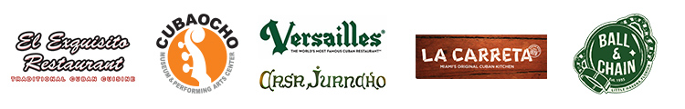 Gay8 Merchant Sponsors - El Exquisito Restaurant, CubaOcho, Versailles Restaurant, Jasa Juancho, La Carreta, Ball & Chain