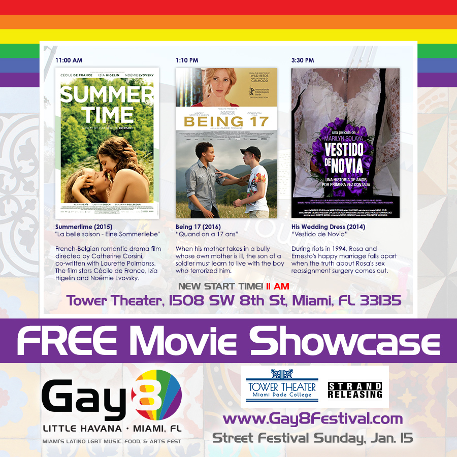 2017 Gay8 Film Showcase - 11 AM Summertime, 1:10 PM Being 17, 3:30 PM Vestido de Novia