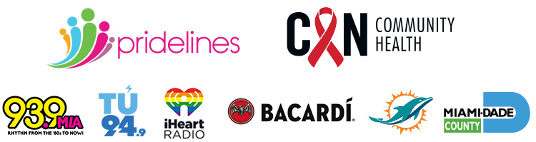 Gay8 Presenting Sponsors - Pridelines, Community Health Center, 93.9 MIA, Tu 94.9, iHeart Radio, Bacardi, Miami Dolphins, Miami-Dade County